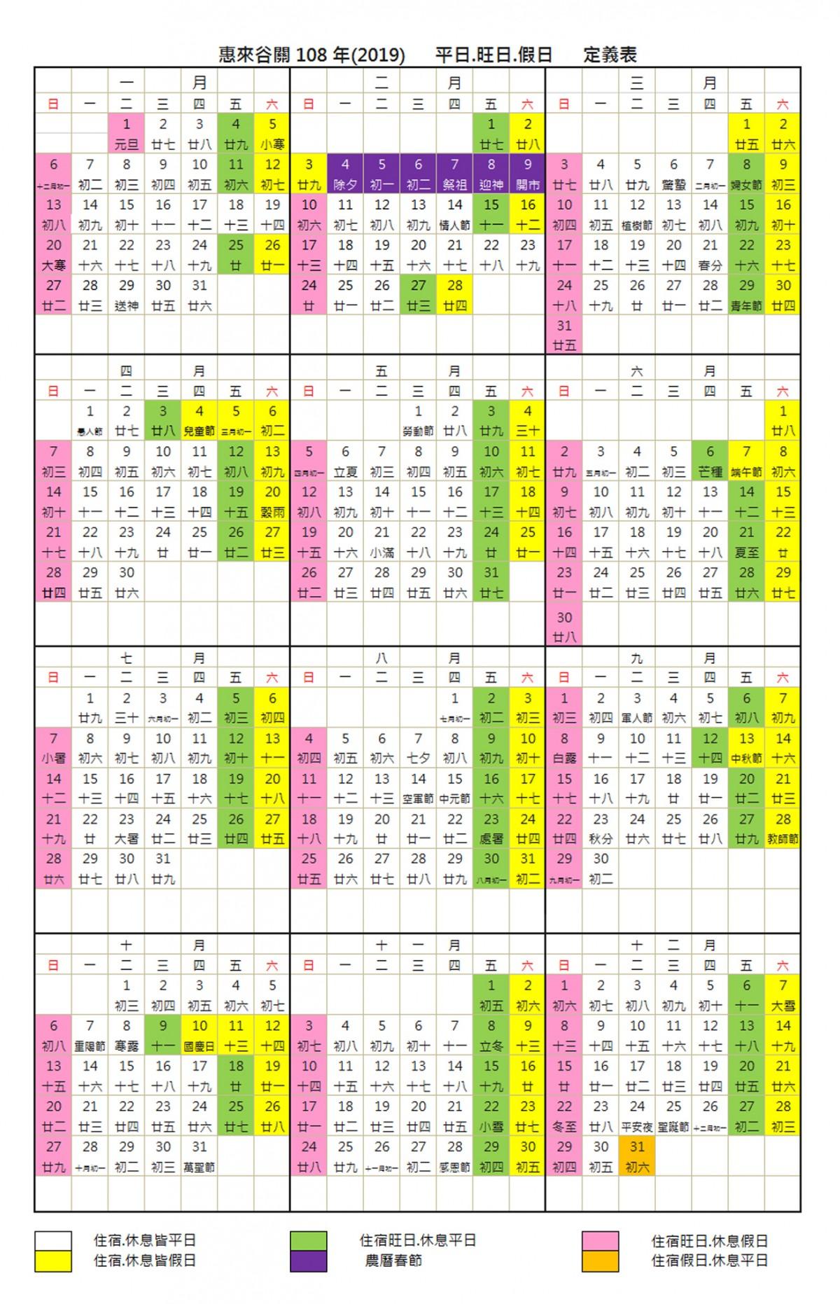 惠來谷關108年平日/旺日/假日定義表